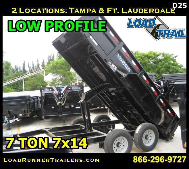 *D25* 7x14 7 TON Low Profile Dump Trailer Load Trail 7 x 14 | D83-14T7-LP/S24