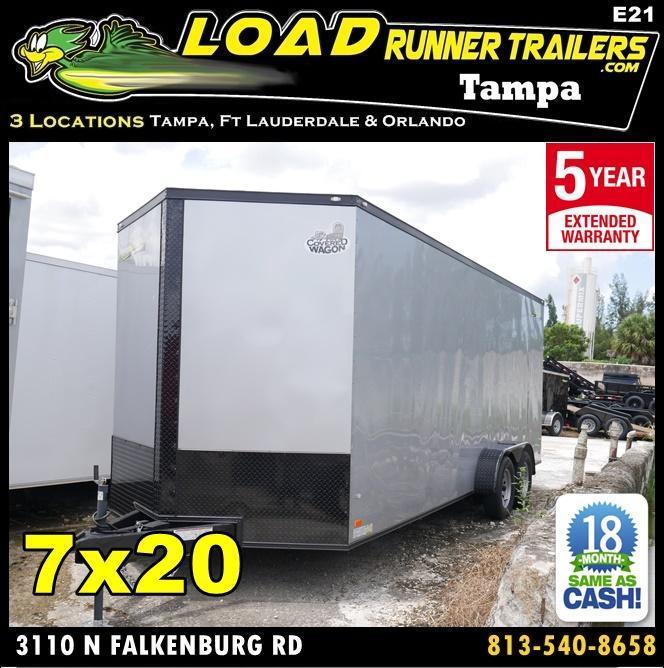 *E21* 7x20 Enclosed Cargo Trailer Tandem Axle Box 7 x 20   EV7-20T3-R