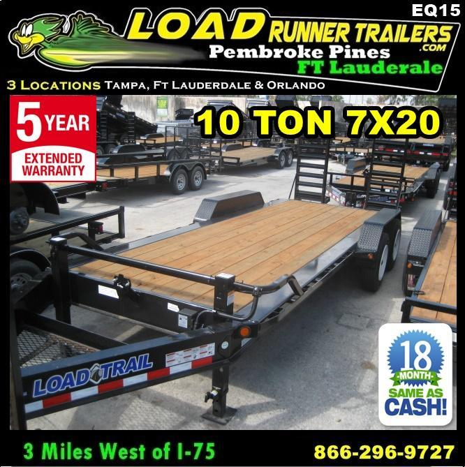 *EQ15* 7x20 10 TON Equipment & Car Hauler Trailer | LR Trailers 7 x 20 | EQ82-20T10T-KR