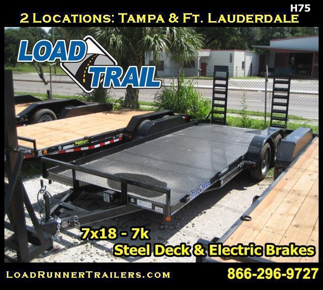 7x18 Steel Deck Car / Equipment Hauler |LR Trailers & Haulers | H75