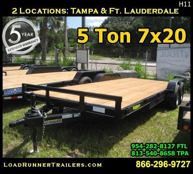 *H11* 7x20 EQUIPMENT HAULER TRAILER 5 TON CAR Trailers 7 x 20 | CH82-20T5-2B