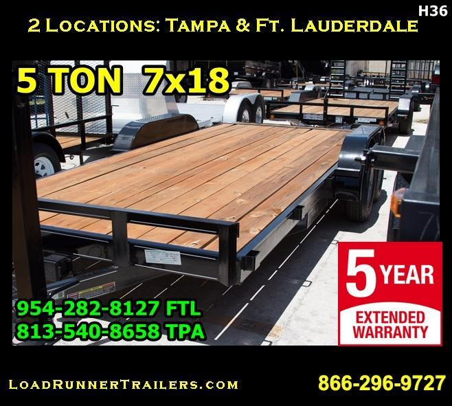 *H36* 7x18 7x18 Car Hauler Trailer 5 TON 7 x 18   CH82-18T5-2B