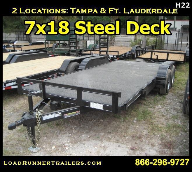 *H22* 7x18 Steel Deck Car Hauler Trailer w/5200 lb Axles 7 x 18 | CH82-18T5-1B-SD