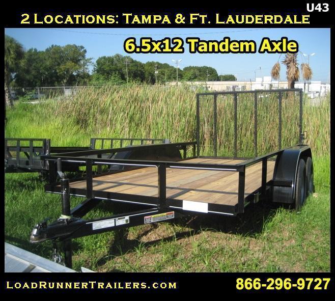 *U43* 6.5x12 Utility Trailer Tandem 3500 lb Axles | U76-12T-AR | 6.5 x 12