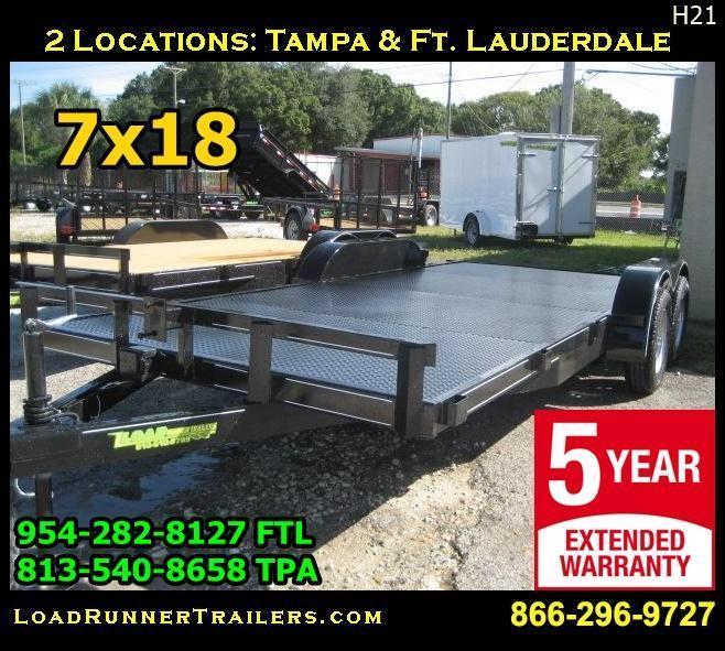 *H21* 7x18 Steel Deck Hauler Trailer Car   Haulers 7 x 18 | CH82-18T3-1B-SD