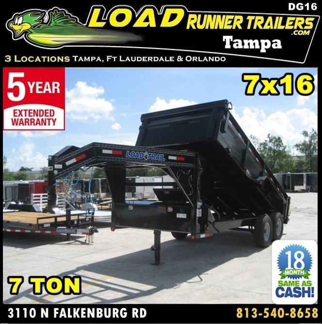 *DG16* 7x16 Gooseneck Dump Trailer 7 TON Load Trail Trailers 7 x 16   DG83-16T7-24S