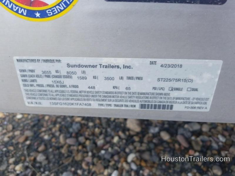 2019 Sundowner Trailers 16' 8114 SUT Utility Trailer SD-83