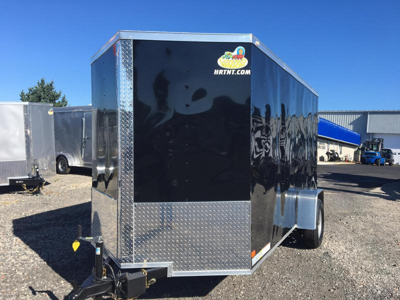 COVERED WAGON 2018 BLACK 6' x 12' SINGLE AXLE V-NOSE ENCLOSED TRAILER