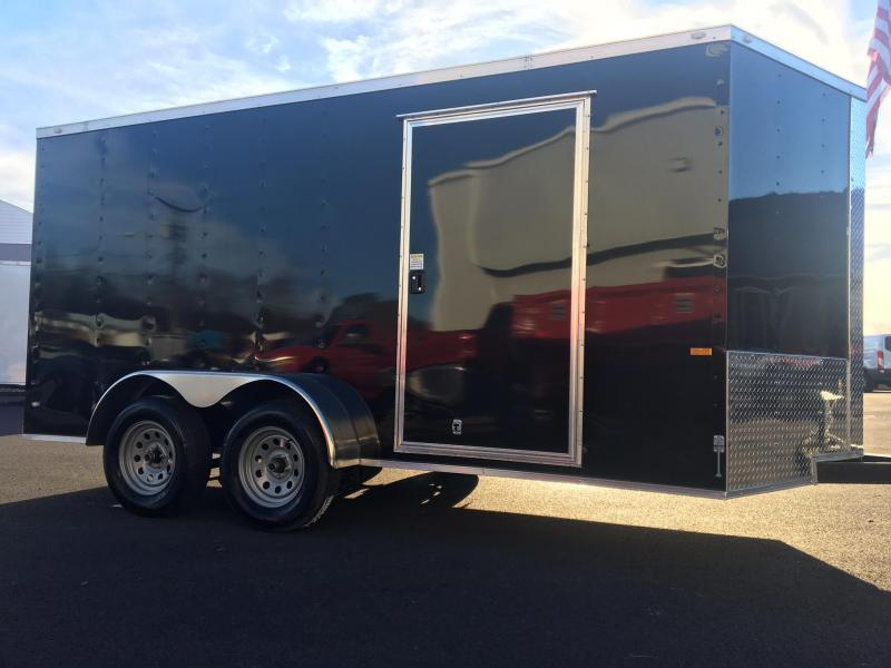 ROCK SOLID 2018 7' x 14'  BLACK TANDEM AXLE V-NOSE ENCLOSED TRAILER