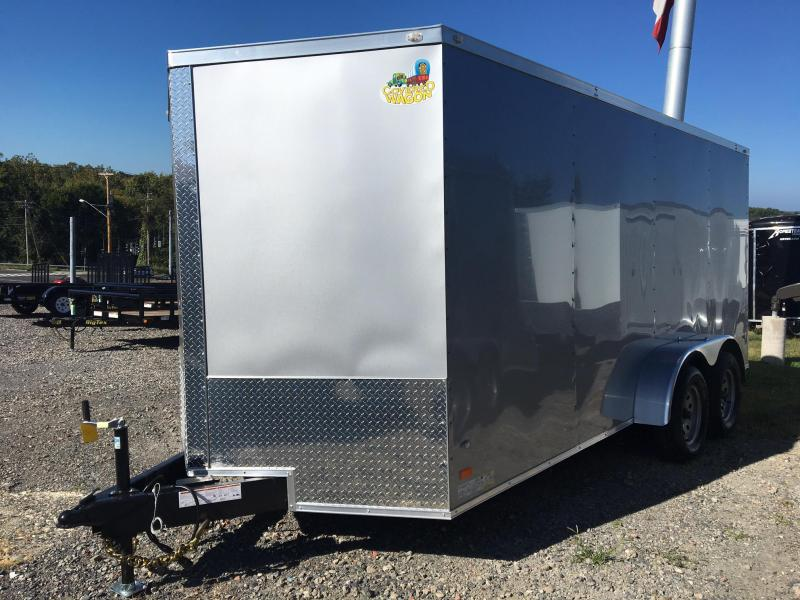COVERED WAGON 2018 7' x 16' SILVER TANDEM AXLE V-NOSE ENCLOSED CARGO TRAILER