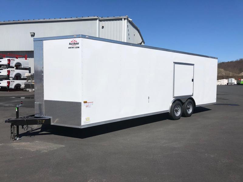 ROCK SOLID 2018 8.5' x 24' TANDEM AXLE WHITE V-NOSE CARGO TRAILER