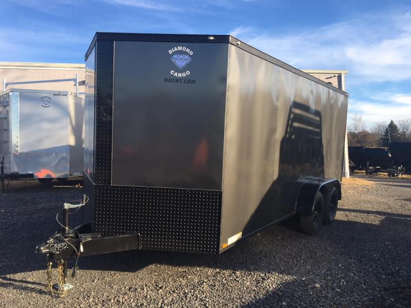 DIAMOND CARGO 2018 7' x 16' GRAY WITH BLACK DIAMOND PACKAGE TANDEM AXLE V-NOSE CARGO TRAILER