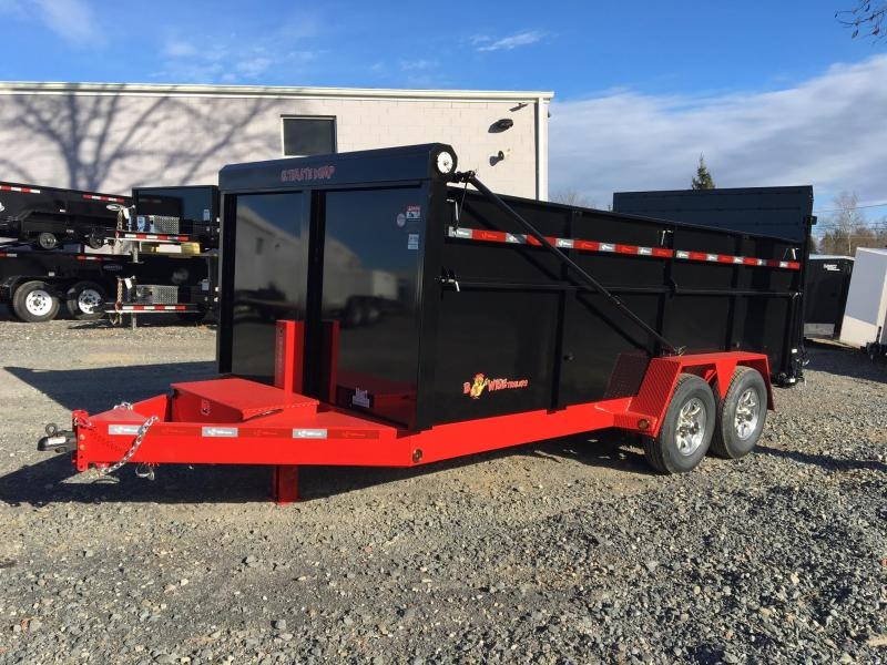 BWISE 2018  7' x 16' BLACK/RED ULTIMATE DUMP LOW PROFILE TRAILER