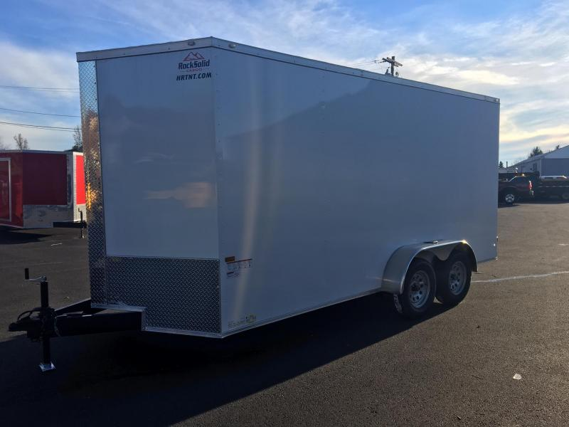 ROCK SOLID 2018 7' x 16' WHITE TANDEM AXLE V-NOSE ENCLOSED TRAILER