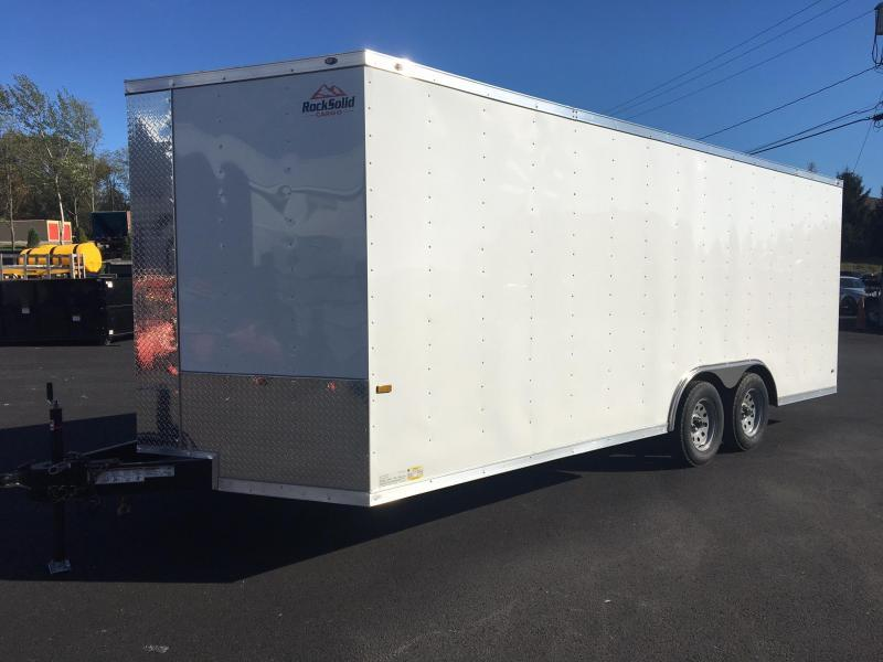 ROCK SOLID 8.5 x 20' Tandem Axle Enclosed White V-NOSE Trailer