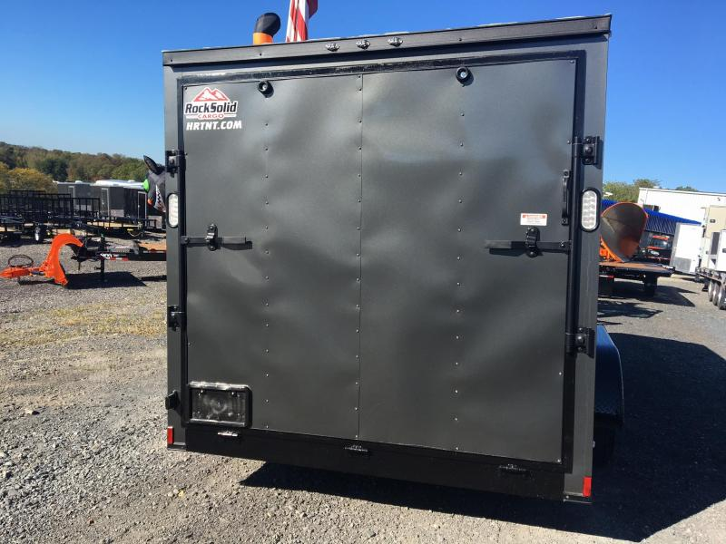 ROCK SOLID 2018 7' x 16' TANDEM AXLE V-NOSE ENCLOSED TRAILER. CHARCOAL WITH BLACK ROCK SOLID PACKAGE.