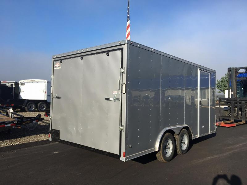ROCK SOLID 2018 8.5' x 16' CH TANDEM AXLE SILVER V-NOSE CARGO TRAILER