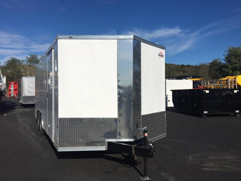ROCK SOLID 8.5 x 20 Tandem Axle Enclosed White V-NOSE Trailer