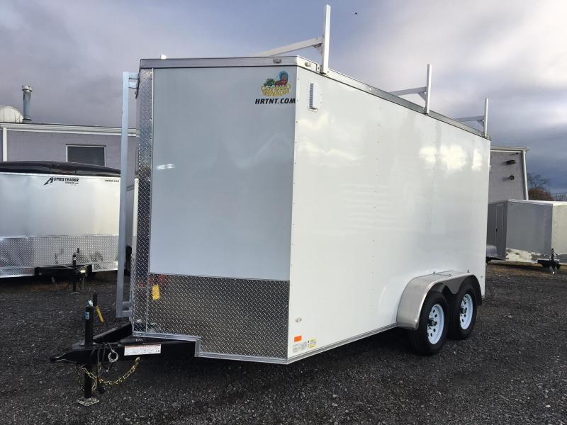 COVERED WAGON 2018 WHITE 7 x 14 TANDEM AXLE ENCLOSED CARGO TRAILER