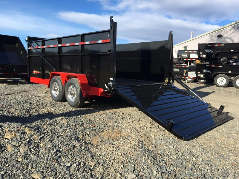 BWISE 2018  7' x 16' LIME GREEN ULTIMATE DUMP LOW PROFILE TRAILER