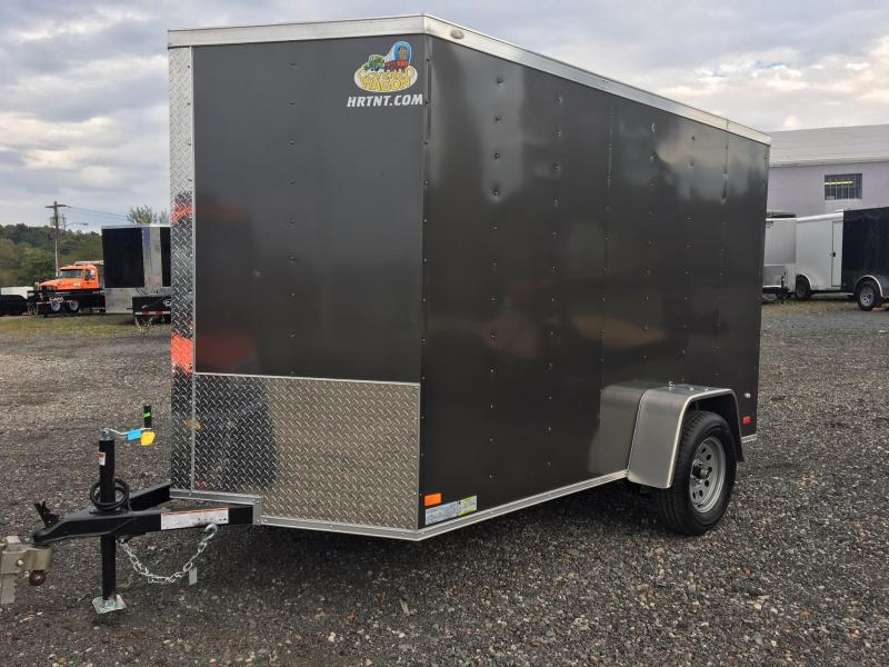 COVERED WAGON 2018 CHARCOAL 6' x 10' SINGLE AXLE V-NOSE ENCLOSED CARGO TRAILER