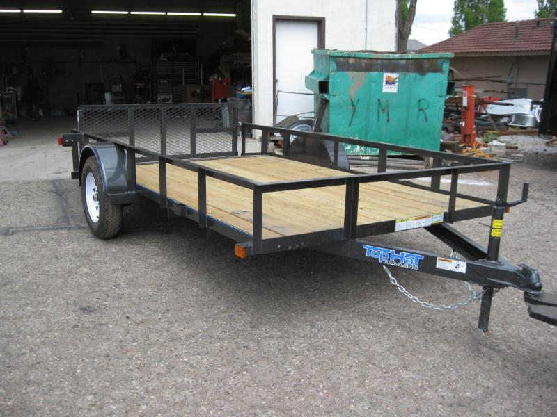 77X12 Angle Rail Utility Trailer with 2' Ramp Gate