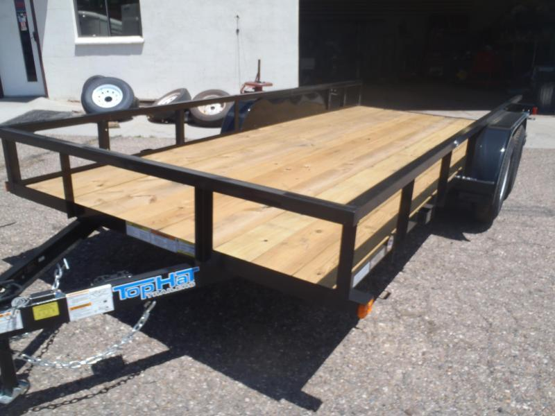 77X16 Pipe Rail Utility Trailer With 4' Ramps