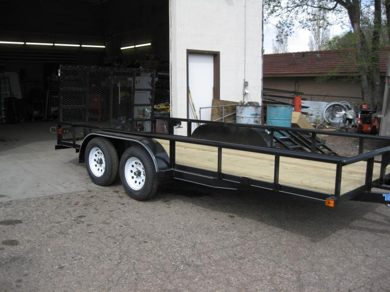 83X16 Utility with Pipe Rail and Ramp Gate Trailer