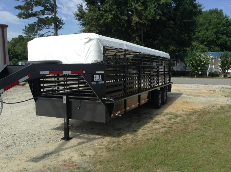 2018 Stoll 24'x7'w Stock Trailer W/Canvas Top