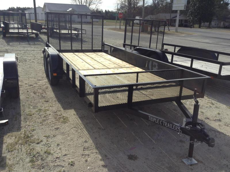 "2018 Triple C 6'4""x16' Mesh Side Utility Trailer"
