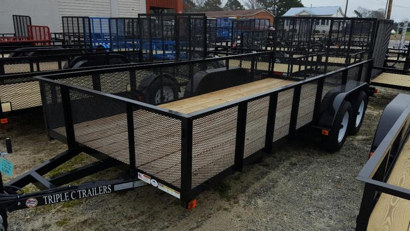 "2018 Triple C 6'-4""x16' with 2ft mesh Utility Trailer"