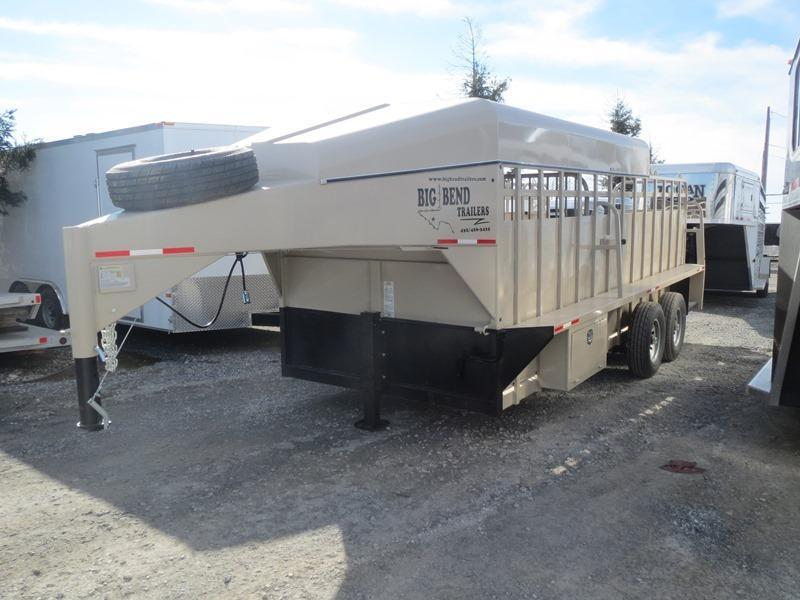 New 2016 Big Bend 18' Half Top Gooseneck Stock Trailer Vin: 33425