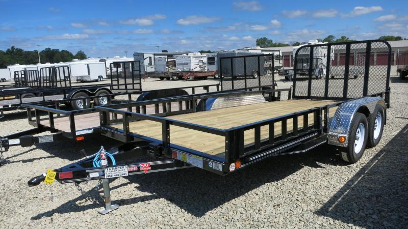 PJ Trailers 6' x 16' Utility Trailer w/ Fold Up Gate-ATV Ramps