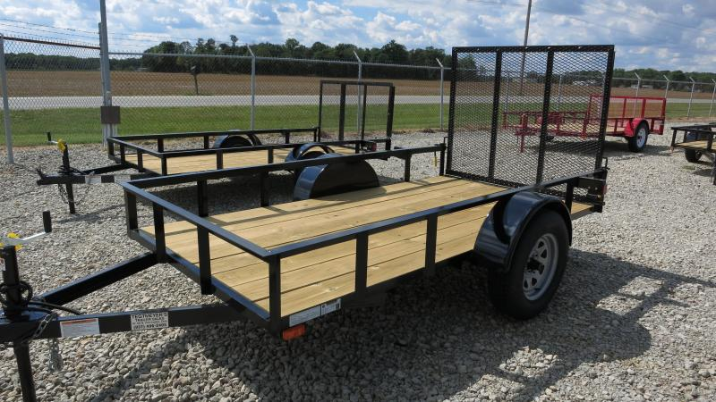 American manufacturing 5x10 utility trailer w gate pj for Wood floor utility trailer