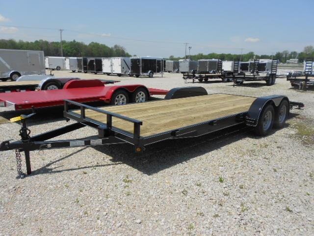 P&T Trailers 20' Tandem Axle Wood Floor Car Hauler w/ Ramps