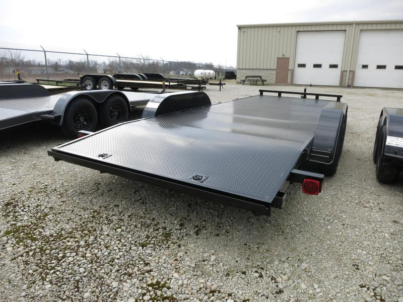 20' Steel Floor Car Hauler w/ ramps - LED - dove