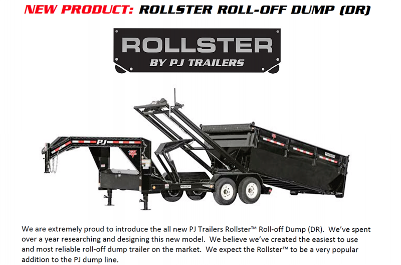 2017 PJ Trailers 14' Roll Off Dump Trailer with 1 Dump Bin
