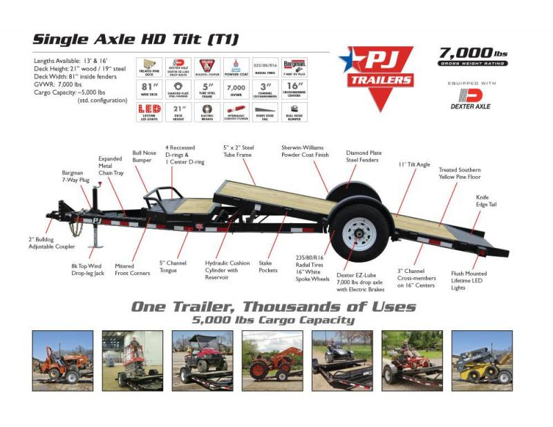 2020 PJ Trailers T1 Single Axle Tilt Equipment Trailer