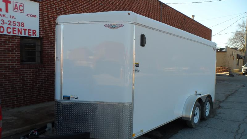 2019 H and H Trailer 7X16 TANDEM RND TOP HH VNOSE 7K CARGO