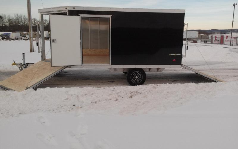 2018 Wells Cargo 8x12 Silver Sport Dual Front Ramp Aluminum Snowmobile Trailer