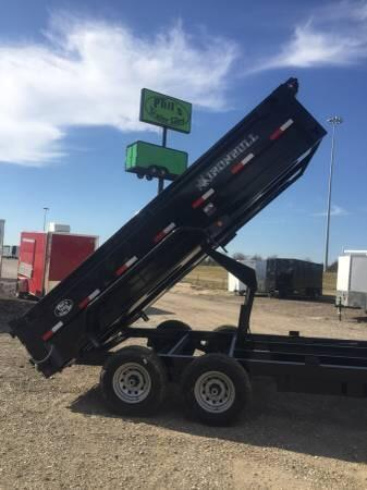 Iron Bull 83x16 GOOSE NECK  DUMP TRAILER POWDER COATED WITH TARP AND RAMP