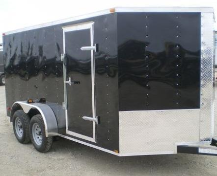 Lark Cargo Trailer 7x14 Black Ramp V nose