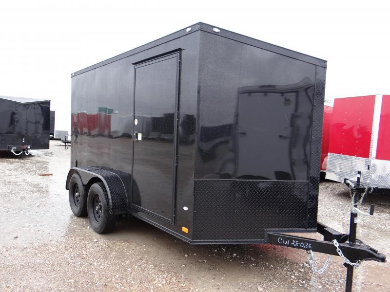 Enclosed Trailer 7x12  Slant Nose BLACKED Out Motorcycle Trailer