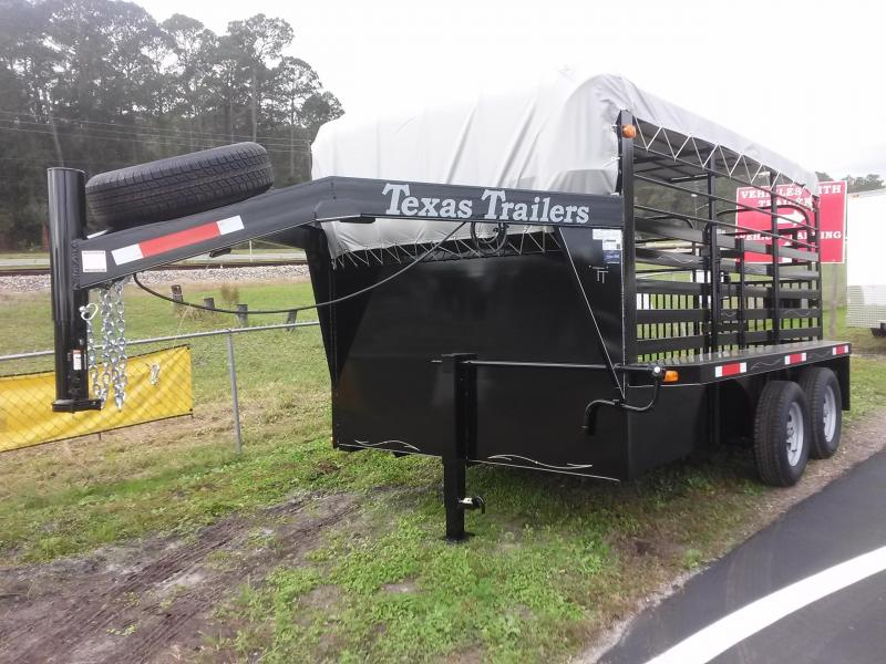 ST1270G TEXAS TRAILERS 12' GOOSENECK STOCK TRAILER W/ ADDED CUT GATE AND FULL WALK OUT ESCAPE DOOR