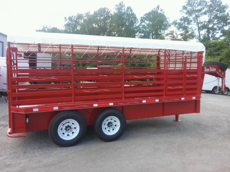 ST1612G TEXAS TRAILERS 16' GOOSENECK STOCK TRAILER W/ COLOR UPGRADE