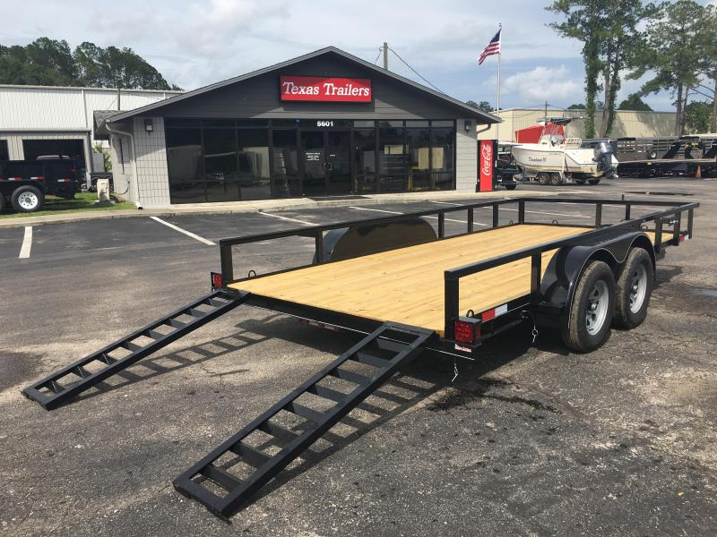 "UT61670 TEXAS TRAILERS 6'10""X16' UTILITY TRAILER W/ SLIDE UNDER RAMPS"