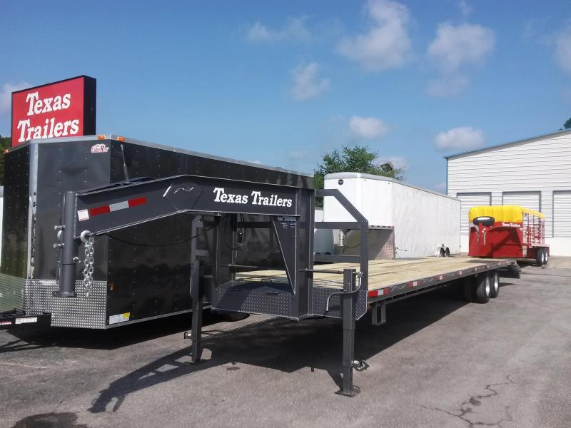 FB3824G TEXAS TRAILERS 38' GOOSENECK DECK OVER FLATBED W/ CUSTOM OPTIONS
