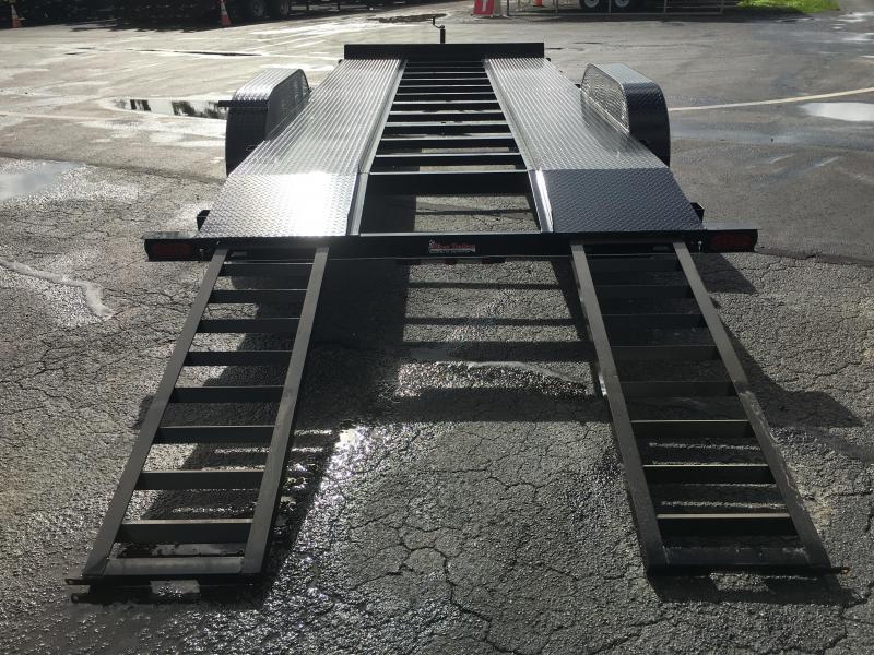 CH1870 TEXAS TRAILERS 18' CAR HAULER W/ SLIDE OUT RAMPS & OPEN STEEL DECK