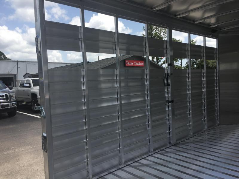 """CMS0440-16 CM 6'8"""" X 16' ALUMINUM STOCKER W/ CUT GATE AND COMBO REAR GATE W/ FULL WALK OUT ESCAPE DOOR AND 5200# AXLES"""
