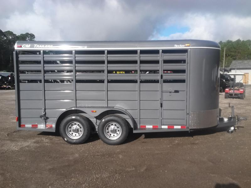 "CMS6640-16 CM 6'8"" X 16' STOCKER W/ CUT GATE AND COMBO REAR GATE W/ FULL WALK OUT ESCAPE DOOR AND 5200# AXLES"